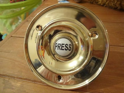 Large 4quot Quotvictorianquot Style Cast Brass Bell Push Products - Antique Door Push Plates - Castrophotos